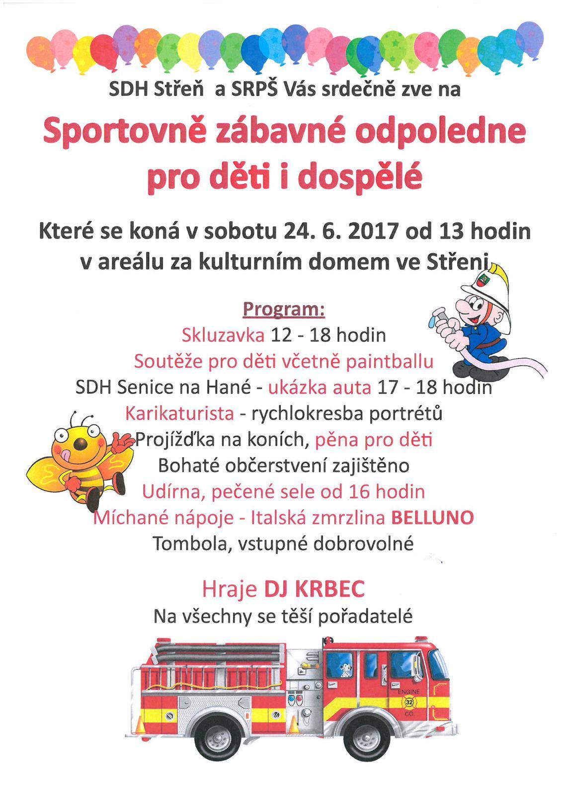 Sportovnì zábavné odpoledne pro dìti i dospìlé ve Støeni